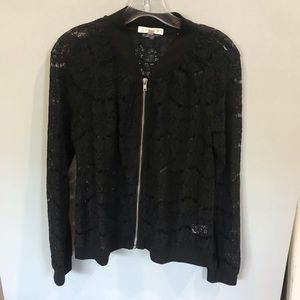 Black lace bomber style jacket
